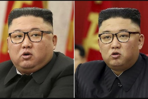 This combination of file photos provided by the North Korean government, shows North Korean leader Kim Jong Un at Workers' Party meetings in Pyongyang, North Korea, on Feb. 8, 2021, left, and June 15, 2021. Credits: AP.