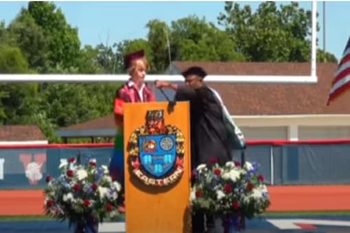 Bryce was reportedly told by his principal that his graduation speech was not his therapy session. (Credit: Youtube screengrab/Michael Dershem)