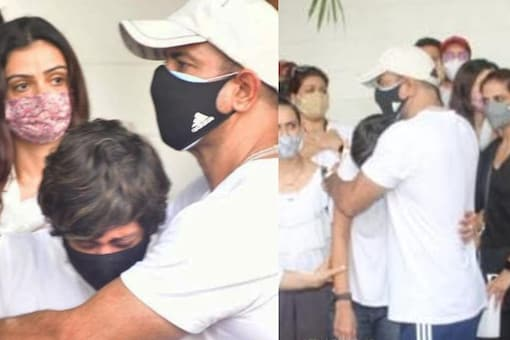 Actor Ronit Roy consoles Mandira Bedi as she breaks down at her husband, filmmaker Raj Kaushal's funeral.