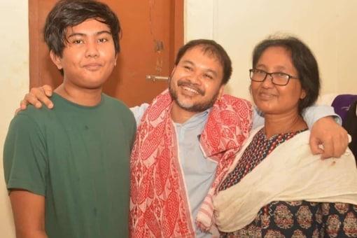 MLA Akhil Gogoi with his wife and son