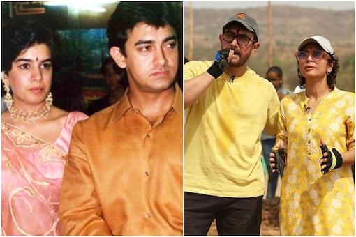 Aamir Khan with Reena Dutta (left), and Kiran Rao.