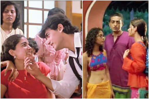 (Left) Aamir Khan and Reena Dutta in the song Papa Kehte Hain, and (right) Kiran Rao in Dil Chahta Hai.