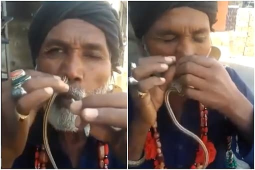Video grab of the man taking the snake out of his nostrils.  (Credits: Instagram/ mevidyutjammwal)