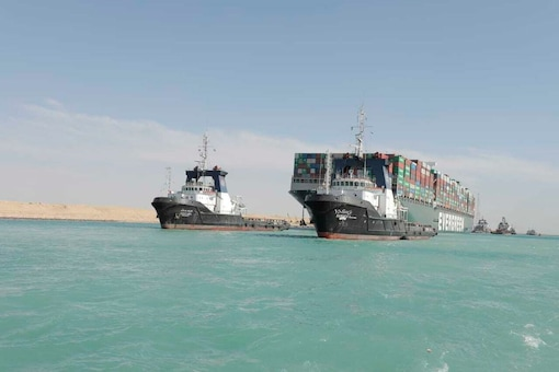 File photo of cargo vessel Ever Given released by Suez Canal Authority. (AP)