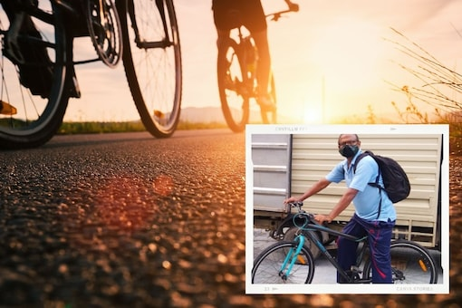 KR Srinivas Rao who has been running errands on his bicycle to deliver medicines, ration, and other essentials. (Credit: @ReliefRidersHyd/Twitter)