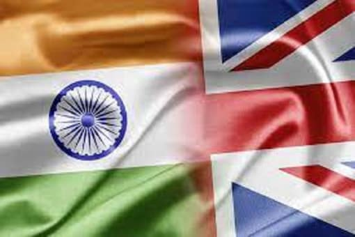 File photo of India and UK flags.