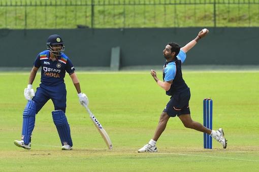 Bhuvneshwar Kumar bowls during India's Intra-squad match on Monday (Pic Credit: BCCI)