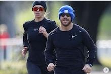 David Warner Jogs with Pre-season Training Partner Candice Warner