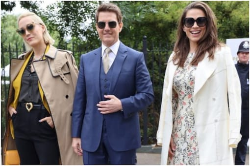 Tom Cruise with Mission Impossible 7 co-stars