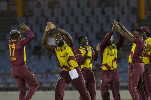 West Indies celebrate a wicket. Photo: AFP