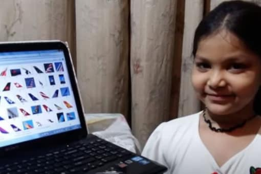 The six-year-old girl from Haryana set the world record identifying airlines by planes' tails. Credit: YouTube/International Book of Records