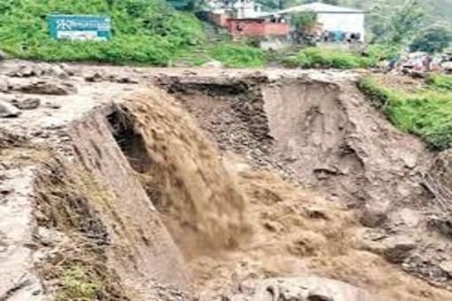 Clouds burst was reported in Bhagsu area of Dharamsala in Himachal Pradesh on July 12.
