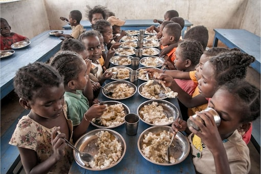Schoolchildren eat lunch offered by the World Food Programme's Under-nutrition Prevention Programme, in the Amboasary-South district of southern Madagascar. (Representative image: AFP)