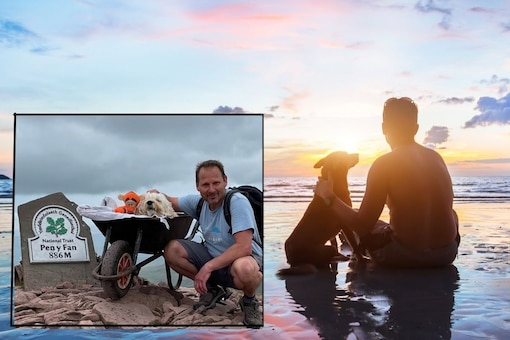 Carlos Fresco took his ailing pet dog Monty to the mountains for a last trip. (Credit: The Brecon and Radnor Express/Facebook)