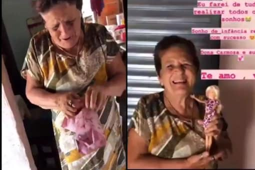 The video shows a granny gifted a Barbie doll. (Credit: Twitter )