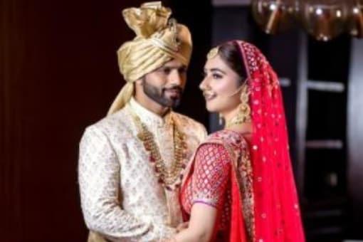 Rahul Vaidya, Disha Parmar Look Resplendent in Wedding Outfit by Abu Jani and Sandeep Khosla
