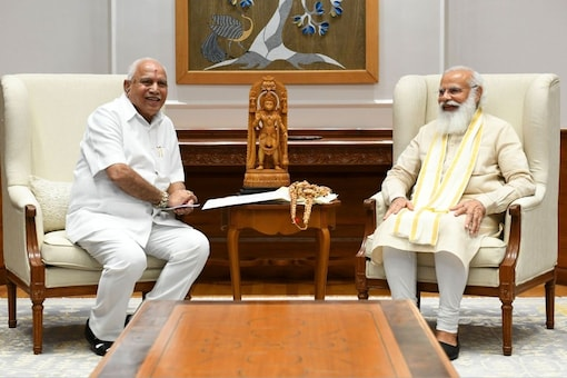 Prime Minister Narendra Modi in a meeting with Karnataka CM BS Yediyurappa. (PMO Twitter)