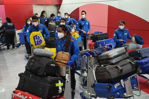 Indian shooting contingent arrive at the Narita international airport in Tokyo (NRAI)