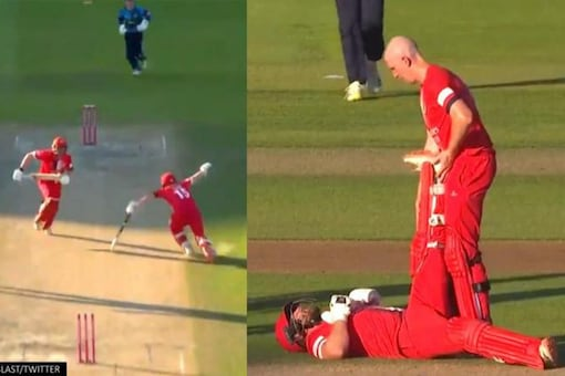 Steven Croft fell while attempting a run against Yorkshire
