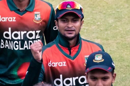 Shakib Al Hasan scored na unbeaten 96 in thrilling win (AFP Photo)
