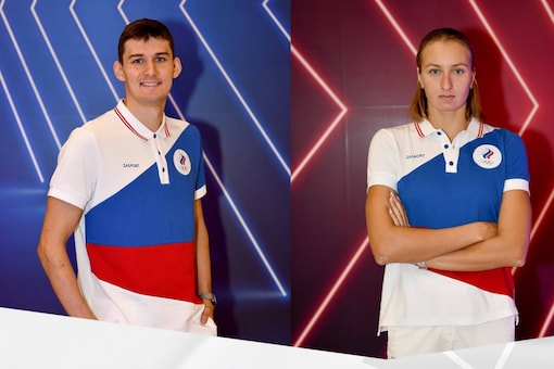 Russian national colours are on Tokyo Olympics uniforms (AP)