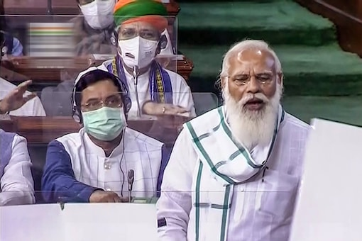 Prime Minister Narendra Modi speaks in the Lok Sabha, on the first day of the Monsoon Session of Parliament, in New Delhi