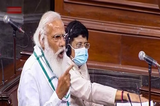 Prime Minister Narendra Modi speaks in the Rajya Sabha, on the first day of the Monsoon Session of Parliament, in New Delhi. (PTI)
