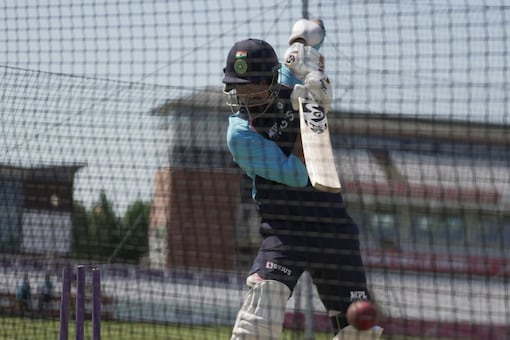 KL Rahul batting at nets ahead of the warm-up game (Twitter/BCCI)
