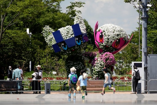 Large topiary of Miraitowa, the official mascot of Tokyo 2020 Olympics and Someity, the official mascot of Paralympics (AP)