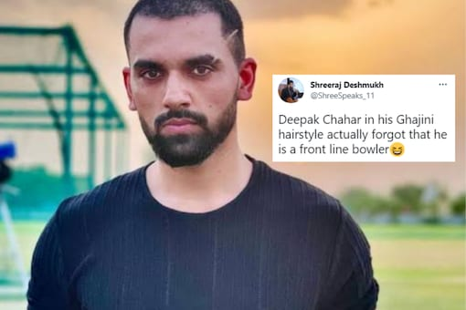 Deepak Chahar's fighting spirit was applauded on microblogging site Twitter but then cricket fans decided to pull up cricketer's recent haircut pictures to celebrate his superb outing. (Deepak Chahar / Twitter)