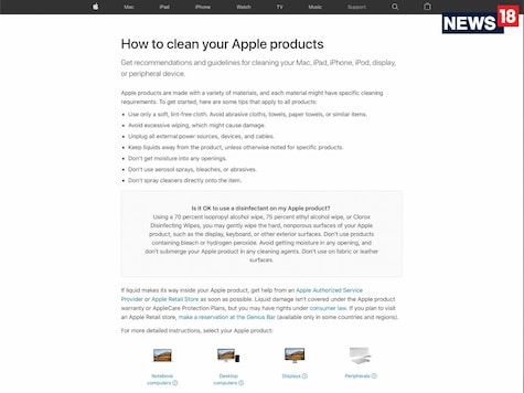 It has now fallen upon Apple to tell us how we are supposed to clean the iPhone, iPad, Mac, Apple Watch, Apple AirPods, HomePod and other gadgets as well as peripherals, and not muck about while at it.