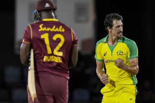 Australia's Mitchell Starc celebrates fall of another Windies wicket.