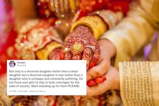 Desi Twitter discussed divorce and societal pressure.