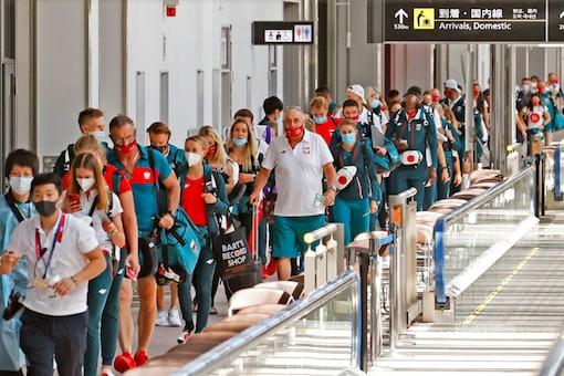 Poland's team arrive for Tokyo 2020 at Narita international airport (AP)