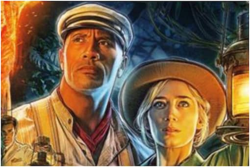 Jungle Cruise movie poster with Dwayne Johnson and Emily Blunt