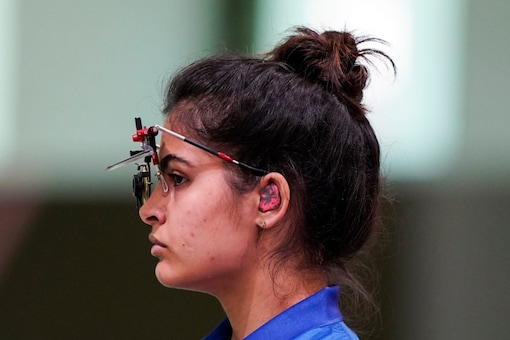 Manu Bhaker, of India, competesd in the women's 10-meter air pistol in the 2020 Tokyo (AP Photo)