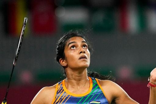 Indian badminton star PV Sindhu in action at Tokyo 2020 (AP)