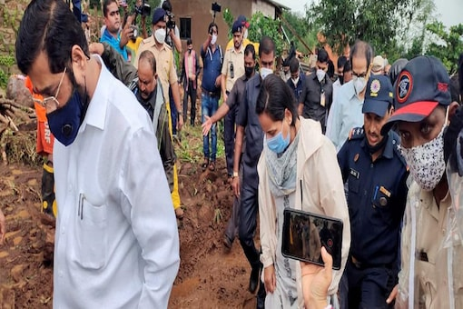 Maharashtra Chief Minister Uddhav Thackeray visits Taliye village of Mahad, Raigad to review the flood-like situation following incessant rain in the area.