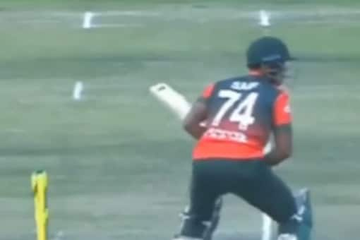 The 'ghostly' incident occurred during the second T20I contest between Zimbabwe and Bangladesh when the bails mysteriously fell off the wickets without the batsman being anywhere near the stumps. (Screengrab from video tweeted by @MazherArshad)