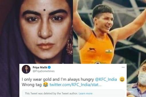 KFC India tagged actor Priya Malik instead of the medal-winning wrestler. Credits: Twitter/@PriyaSometimes