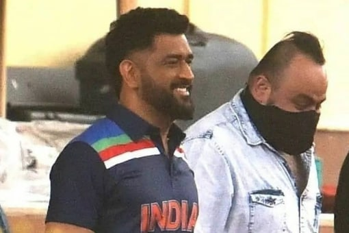 Former India captain MS Dhoni donned the retro jersey during an ad shoot.
