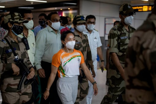 Mirabai Chanu received a hero's welcome in Imphal (AP Photo)