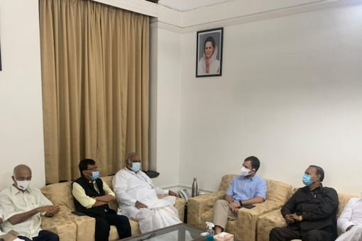 Congress leader Rahul Gandhi attended the meeting at the chamber of the Leader of Opposition in the Rajya Sabha Mallikarjun Kharge.
