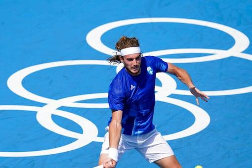 Greek Tennis star Stefanos Tsitsipas in action at Tokyo Olympics (AP)