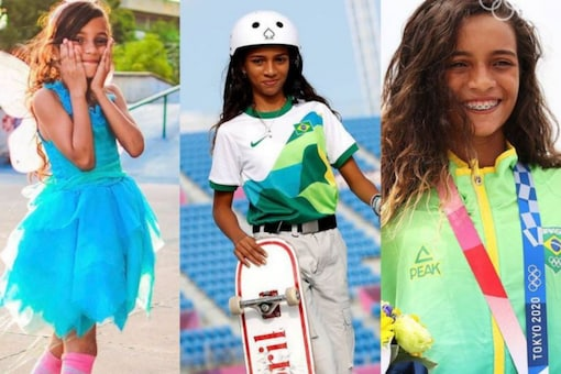 Rayssa Leal featured in a viral video where she was seen showcasing her skateboarding skills dressed in a blue dress with fairy wings. (Credits: Twitter/@Olympics)