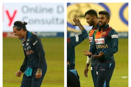 Things got a little hot between Rahul Chahar and Wanindu Hasaranga.