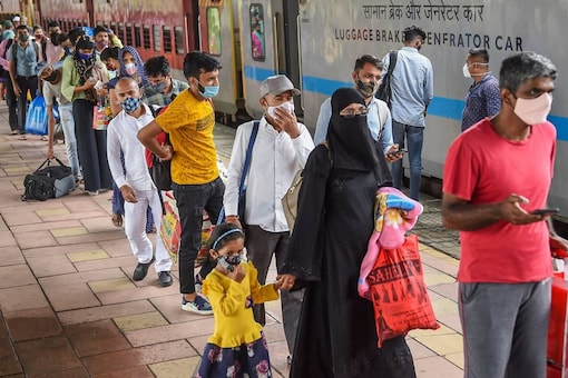 Passengers wait in a queue for their Covid-19 test, at a platform of Dadar railway station in Mumbai, Thursday, July 29, 2021. (PTI)