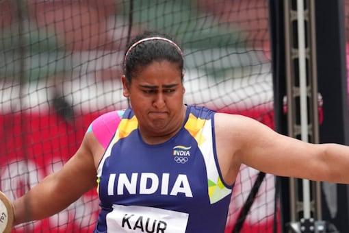 Discus Thrower Kamalpreet Kaur in action at Tokyo 2020 (AP)
