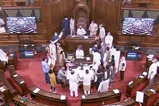 The government has accused the opposition members of lowering the dignity of Parliament with their unruly conduct. File image/PTI