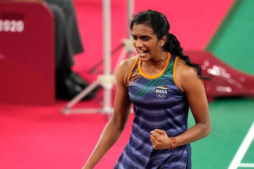 India's Pusarla V. Sindhu celebrates aa point competes Taiwan's Tai Tzu-Ying during their women's singles badminton semifinal match at the 2020 Summer Olympics, Saturday, July 31, 2021, in Tokyo, Japan. (AP Photo/Markus Schreiber)